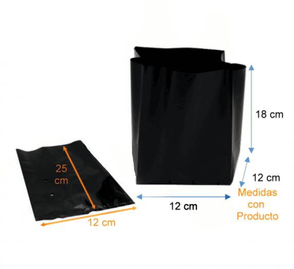 Bolsa Plástica para Almácigo y Plantas de 25x25 - 100 Unidades