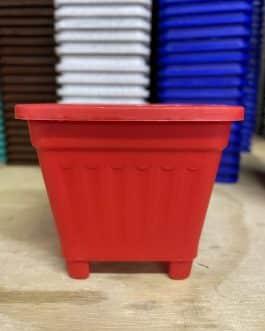 Macetero Cuadrado Rojo 8 Cm
