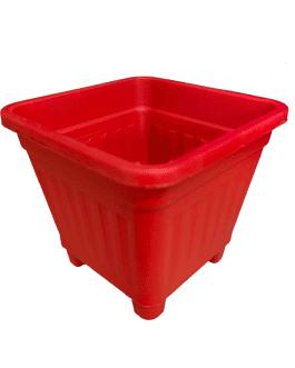 Macetero Cuadrado Rojo 50 Cm